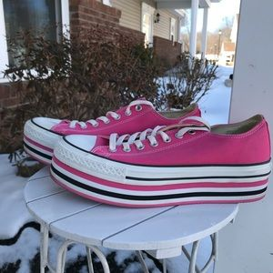 Pink platform All Star Converse sneakers